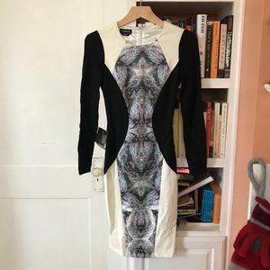 Bebe Abstract Long-Sleeved Neoprene Dress (NWT)